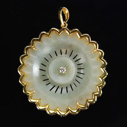 Chinese Jade Flower Button, 18K Gold & Diamond Pendant