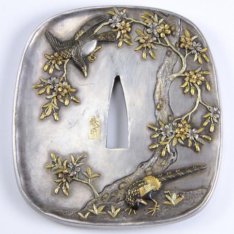 Japanese Silver, Gold & Shakudo Tsuba