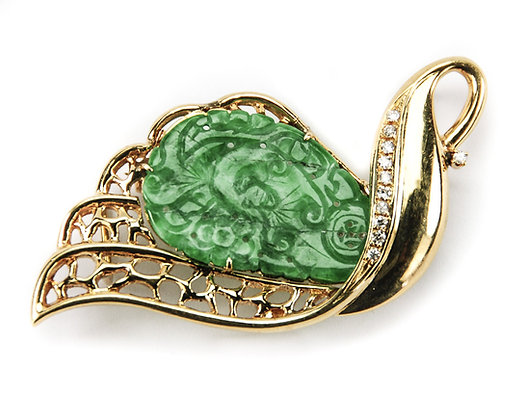 Chinese Jadeite, Diamond & 18K Gold Brooch