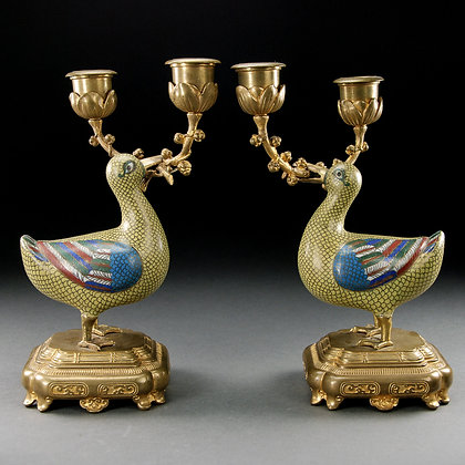 Pair of Chinese Cloisonné Enamel Duck Candlesticks