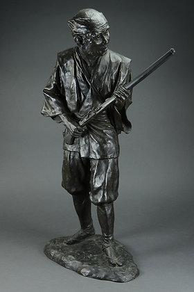 Japanese Bronze Figure, Hunter with Matchlock Musket