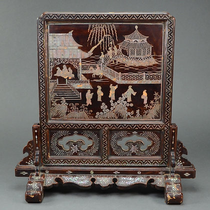 Chinese Lacquer & Mother of Pearl Inlay Table Screen