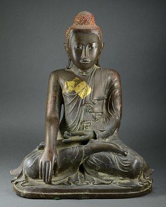 Large Burmese Bronze Seated Buddha