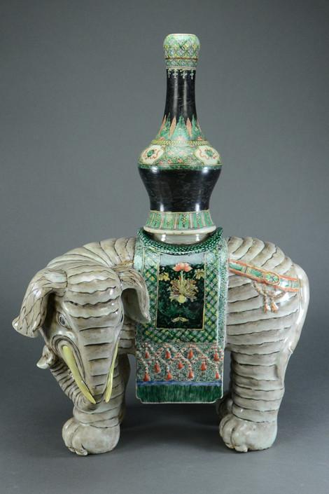 Chinese Large Famille Verte Porcelain Elephant with Vase