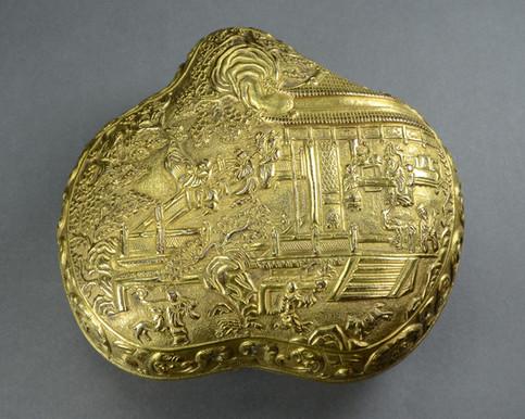 Chinese Gilt Bronze Peach Form Box