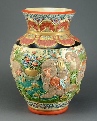 Japanese Large Satsuma Vase, Monkeys in Landscape