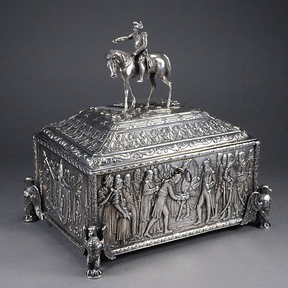 European Silver Repoussé Box, Napoleon on Horseback