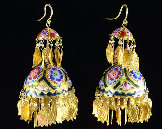 Persian Enamel & Gold Earrings
