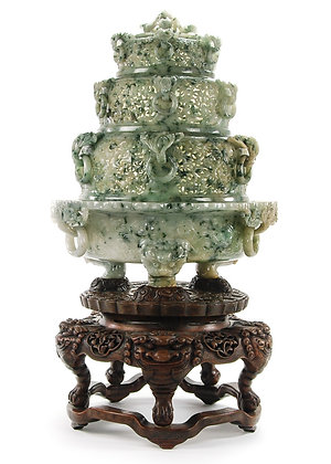 Rare Chinese Pierced Four Tier Censer with Wood Stand
