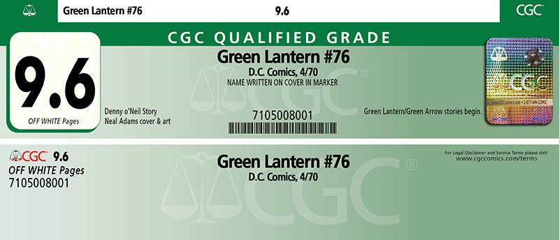 CGC Green Qualified Label