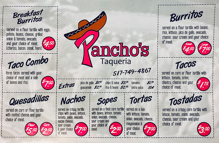 Pancho's Taqueria Menu