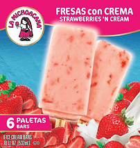 La Michoacana Fresas con Crema Paletas Strawberries and Cream Ice Cream Bars