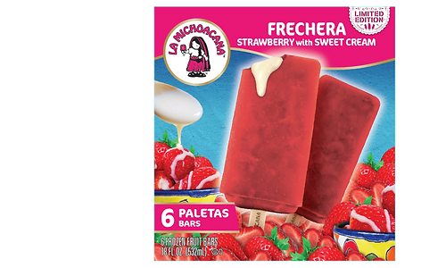 Fresas and sweet cream unite in our Frechera paleta for an amazing #PaleteriaExperience. Bite into a refreshing strawberry paleta filled with sweet cream that is bound to overflow in your first bite! Apúrate, it's for a limited time only!
