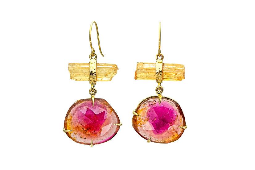 Mixed Gemstones + 14k Gold Earrings