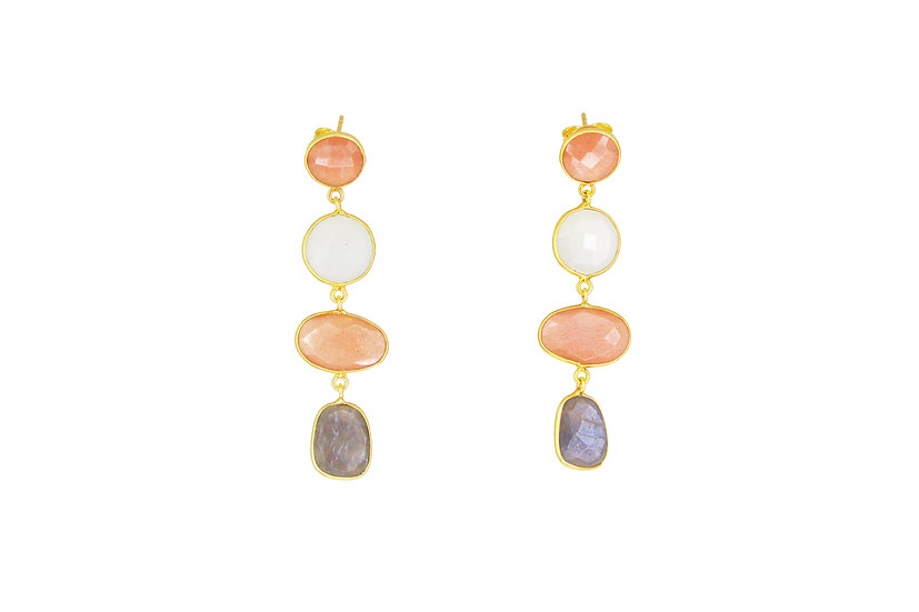 Peach, Gray + Rainbow Moonstone
