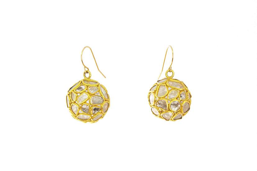 Diamond Slice, 14k Gold Globe Earrings