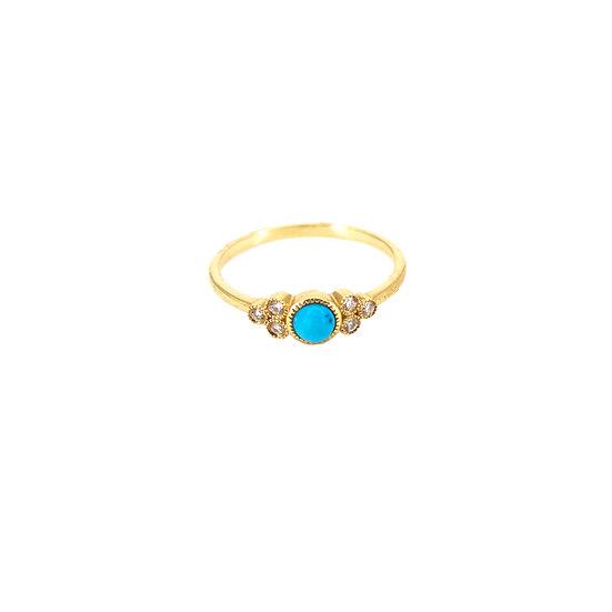 Turquoise, Diamond + 14k Gold