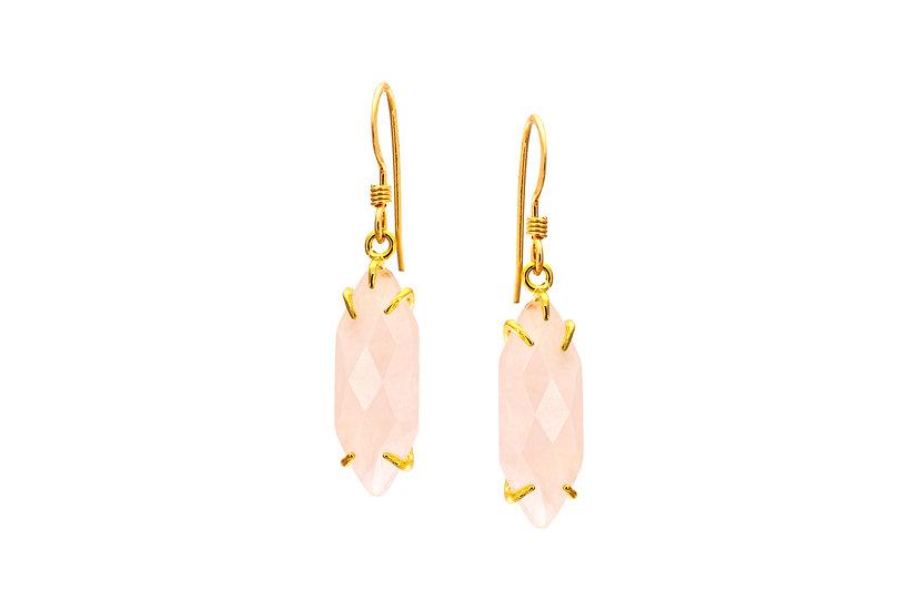 Rose Quartz Dagger Earrings