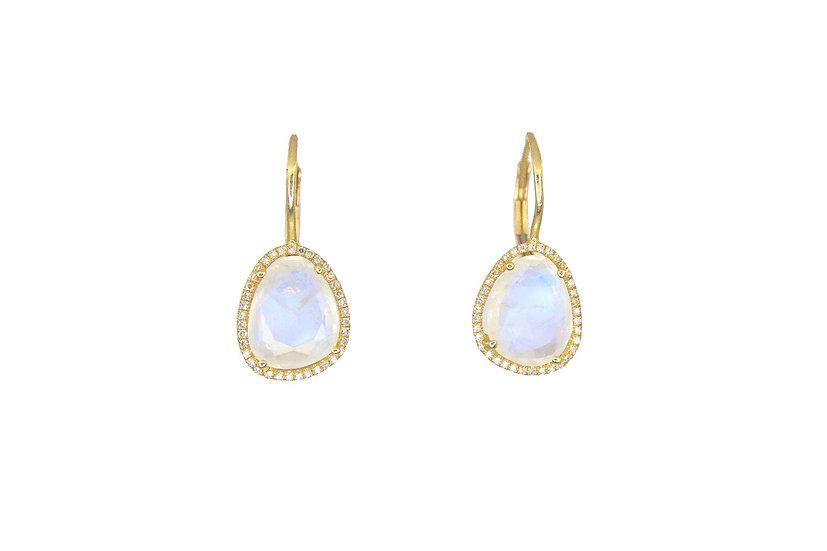 Moonstone, Diamond + 14k Yellow Gold