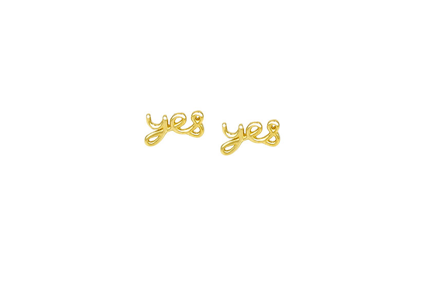 """14k Yellow Gold """"Yes"""" Studs"""