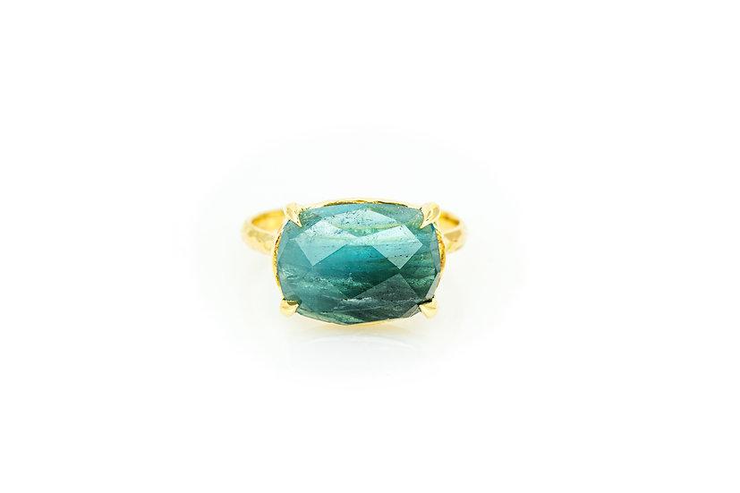 Blue Tourmaline + 14k Yellow Gold
