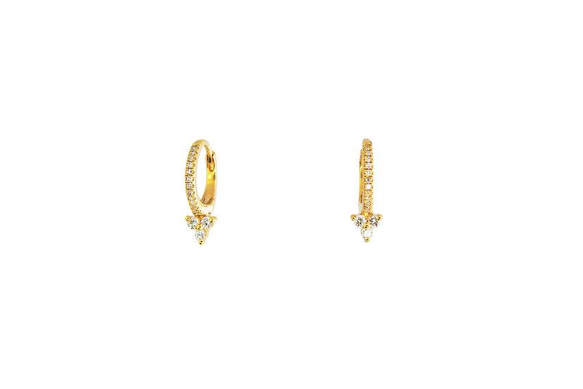 Diamond + Gold Huggie Hoops