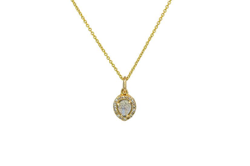 Labradorite, Diamond + 14k Yellow Gold