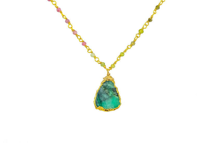 Turquoise + Sapphire Slice Necklace