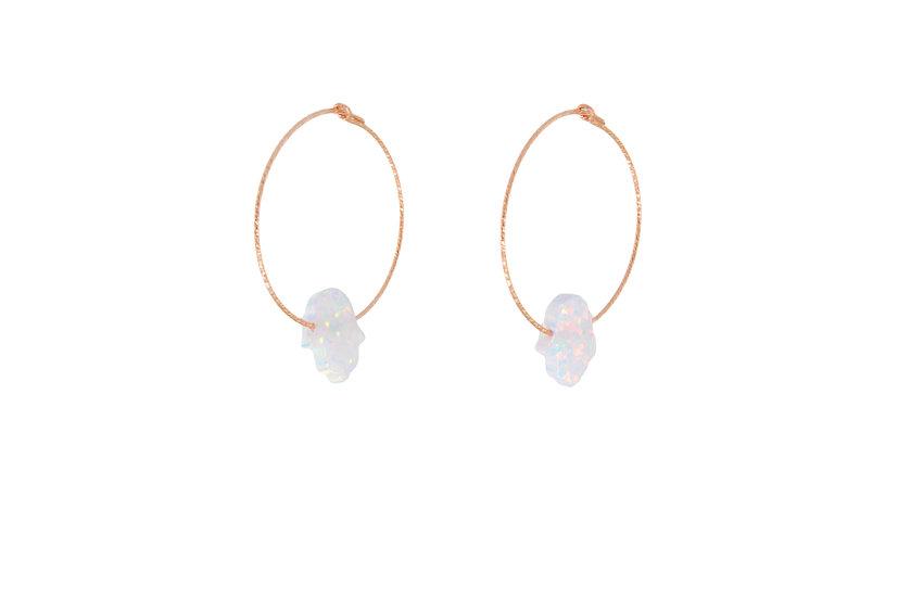 Opal Hamsa Hoops