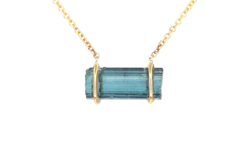 Indicolite Tourmaline + 14k Yellow Gold