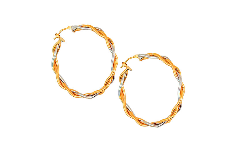 Twisted 14k Rose Gold Hoops
