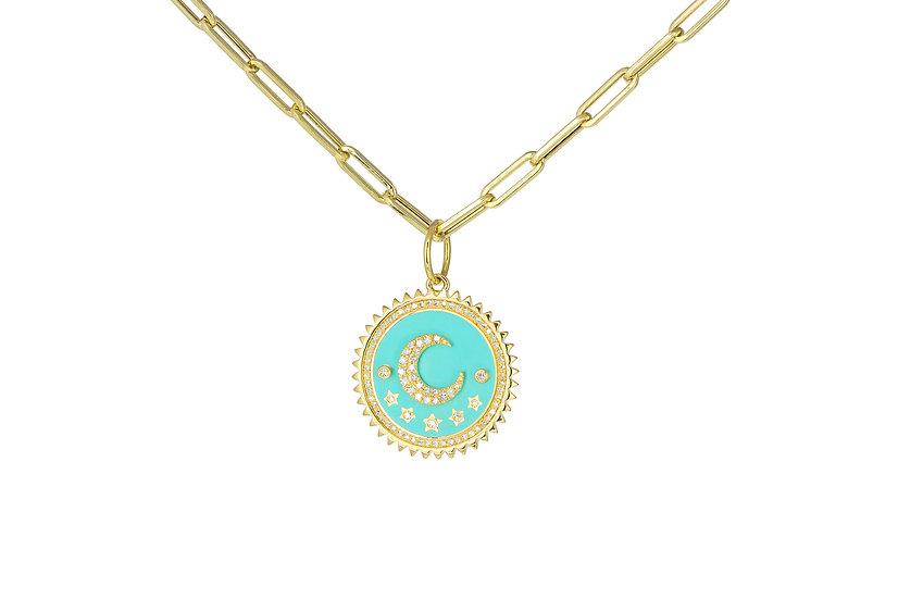 Mint Enamel, Diamond + 14k Yellow Gold