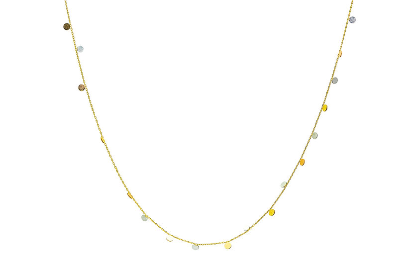 Mixed 14k Gold Mini Coin Necklace