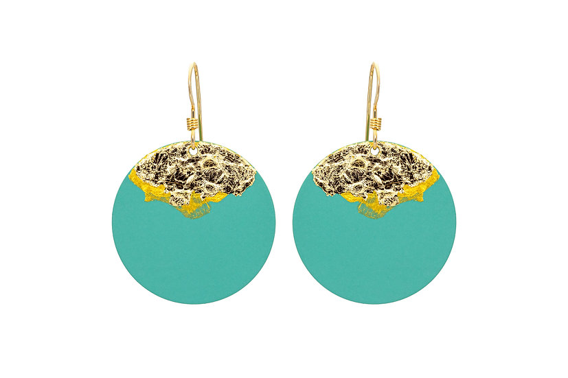 Gold Dipped Coin Earrings -Mint