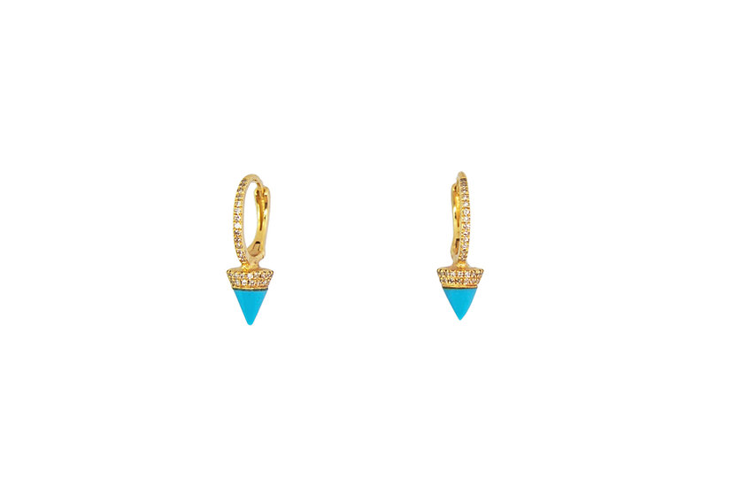 Turquoise + Diamond 14k Gold Earrings