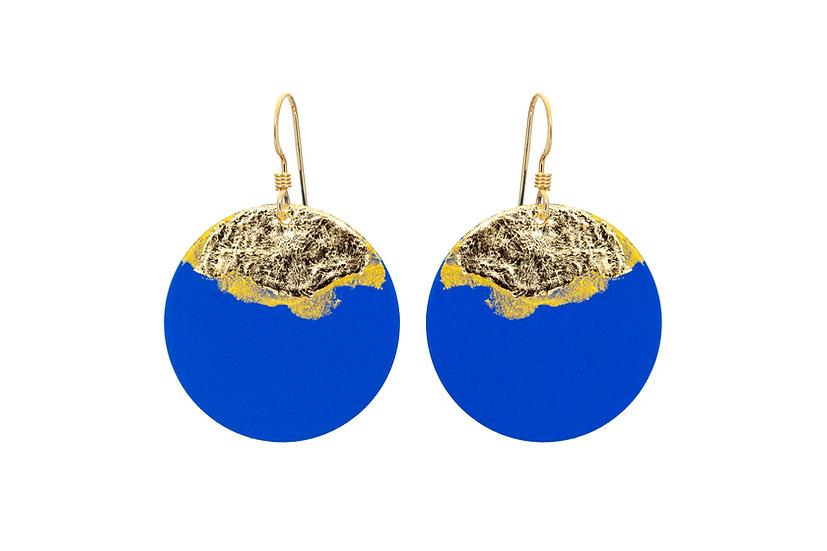 Gold Dipped Coin Earrings - Cobalt