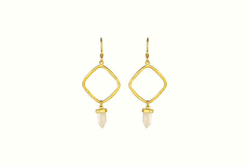 Gold Diamond with Rose Quartz Point Earrings