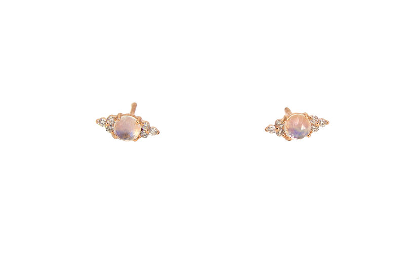 Moonstone, Diamond + Gold Stud