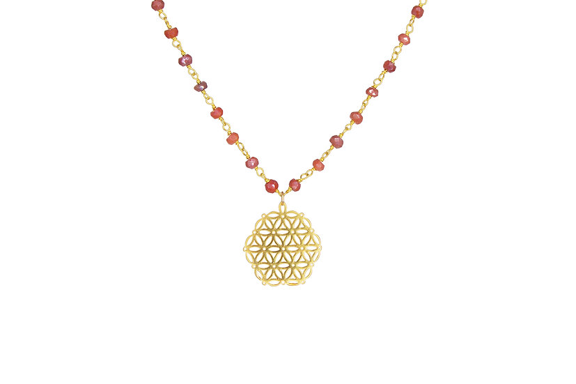 Mystic Carnelian with Flower of Life