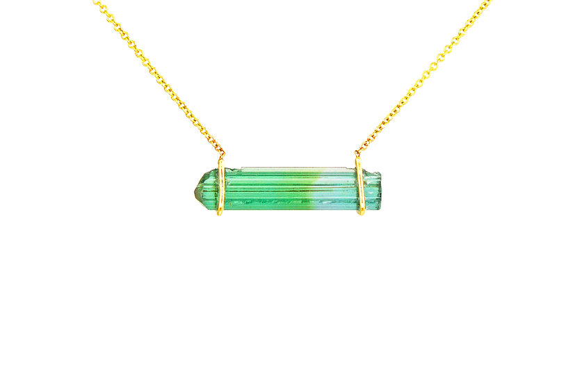 Blue + Green Tourmaline + 14K Yellow Gold