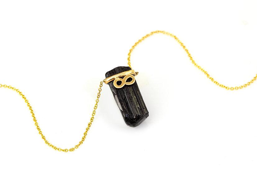 Black Tourmaline + 14k Yellow Gold