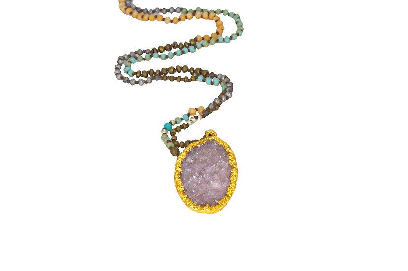 Natural Druzy + Gemstone Chain