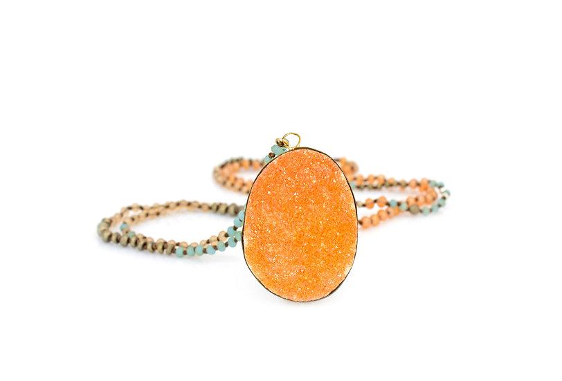 Peach Druzy + Moonstone, Chalcedony, Pyrite