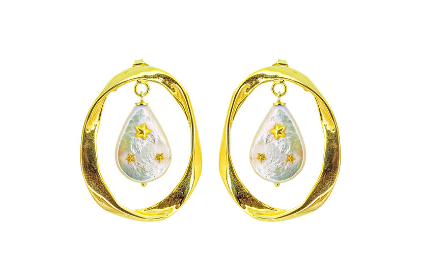 Gold Star Pearl Earrings