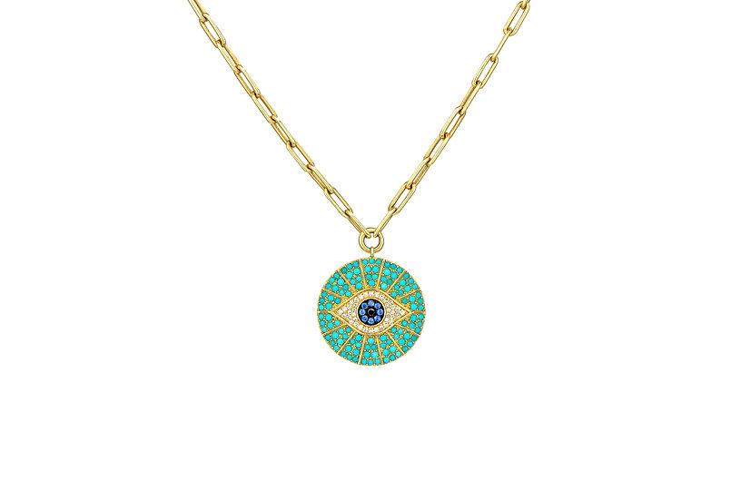 Turquoise, Diamond + Sapphire Evil Eye