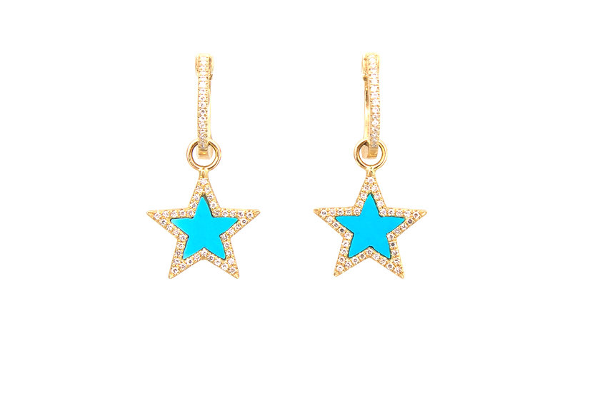 Turquoise + Diamond Star 14k Gold Earrings
