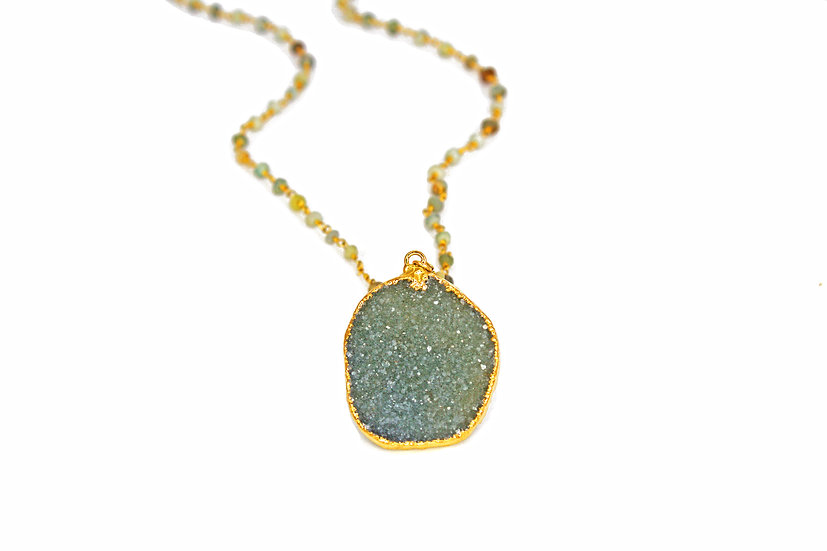 Natural Druzy and Opal Chain