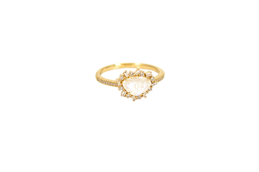 Moonstone + Diamond Baguette Ring