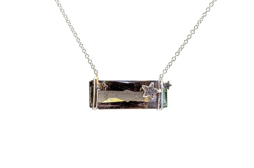 Gemstone + 14k White Gold Star Necklace