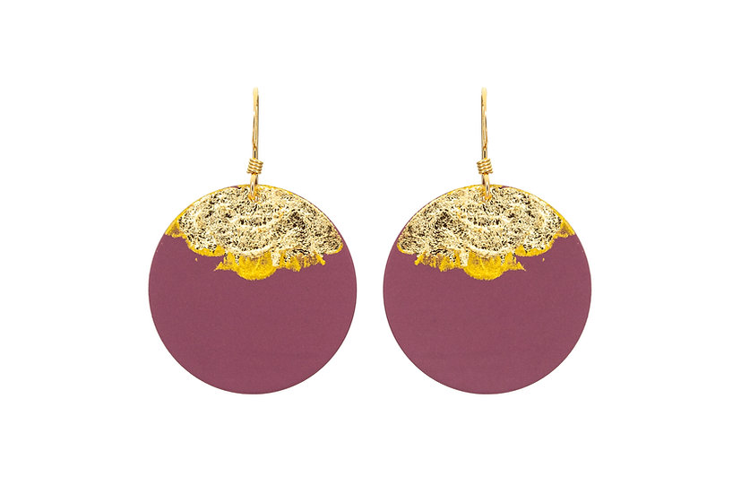 Gold Dipped Coin Earrings - Mauve